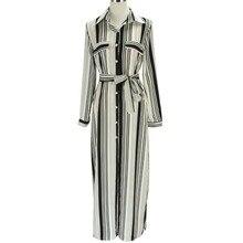 Maxi Striped Shirt Dress Sexy Elegant Design Slipt Evening Party