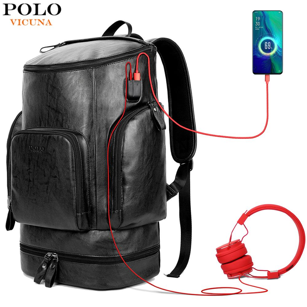 VICUNA POLO Leather New Arrival Multifunctional Business Laptop Backpack With Headphone Hole USB Charging Travel Men