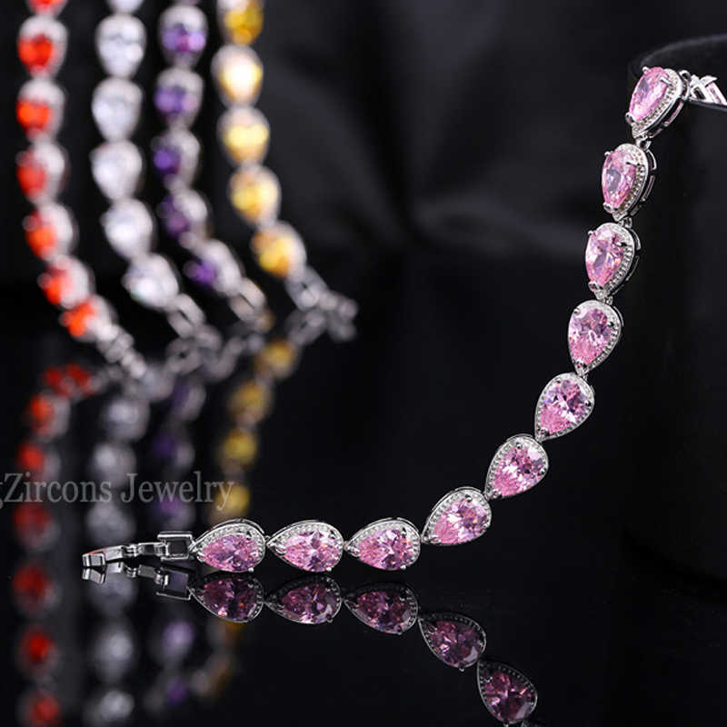 Beaqueen Kualitas CZ Batu Alam Manik-manik Perhiasan Tangan Pir Potong Ungu Kristal Austria Terhubung Gelang untuk Wanita B034