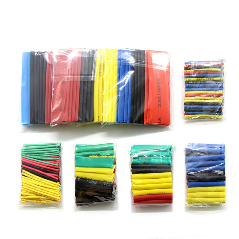 127pcs/328pcs/530pcs Heat Shrink Tube 2:1 Insulation Shrinkable Tubes Assortment Electronic Polyolefin Wire Cable Sleeve Kit H