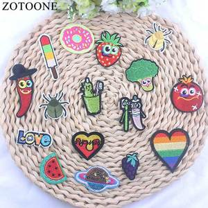 ZOTOONE 1Pcs Cartoon Red Chil Patch For Clothes Cheap Embroidered Appliqued Stickers For Badges Small Car Spider Patch Iron On B