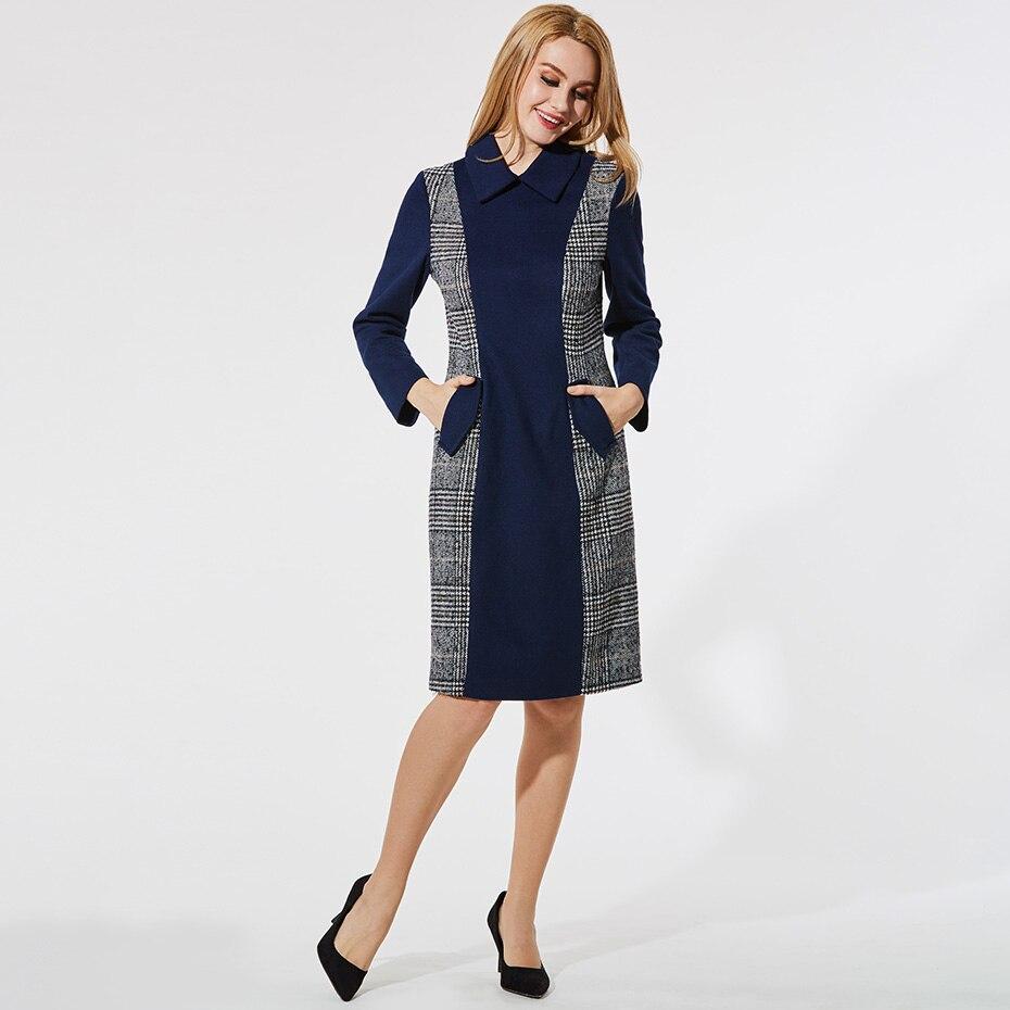 Women Autumn Office Dress Bodycon Elegant Work Formal Lapel Dress 2018 Long Sleeve Blue Color Block Plaid Patchwork Dress