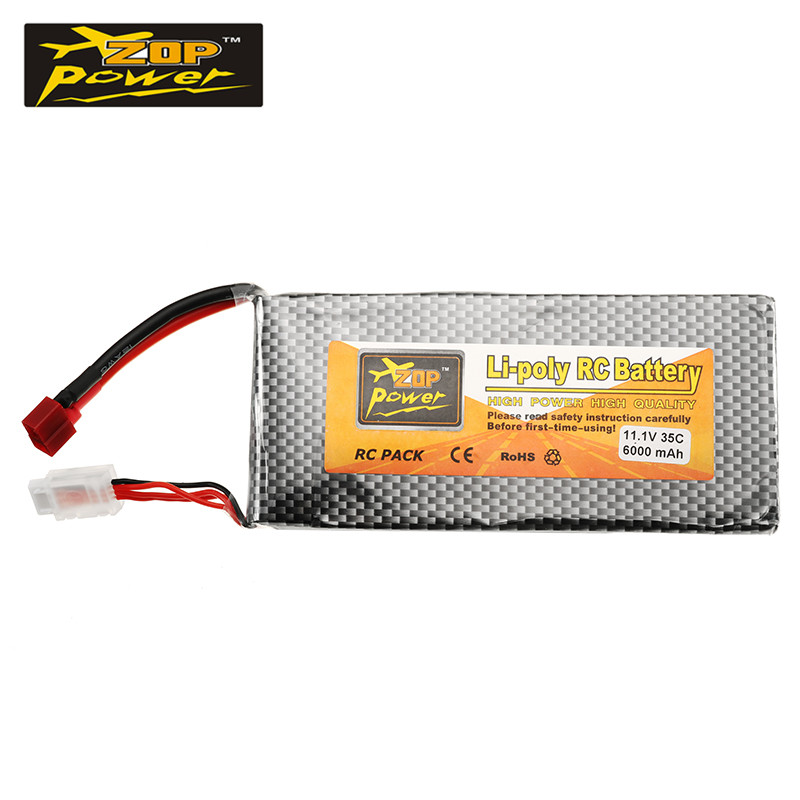 Lipo Battery 11.1V 6000mah 35C 3S T Plug ZOP Power for RC Quadcopter AKKU Bateria For FPV Racing Drone Helicopter Toys Accs 1pcs lipo battery 7 4v 2000mah 30c t banana xt60 plug upgrade lipo battery for syma x8c x8w quadcopter free shipping