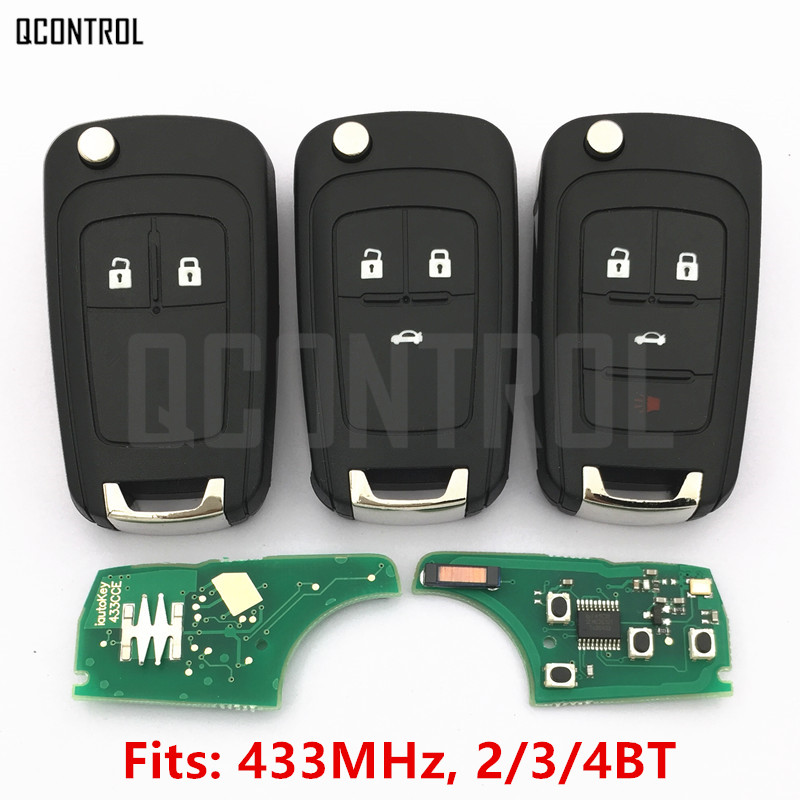 QCONTROL 2/3/4 Buttons Car Remote Key DIY for OPEL/VAUXHALL 433MHz for Astra J Corsa E Insignia Zafira C 2009-2016 audew 18 led license number plate light for vauxhall opel corsa c d astra h insignia