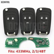 QCONTROL llave remota para coche, 2/3/4 botones, bricolaje, para OPEL/VAUXHALL, 433MHz, para Astra J Corsa E Insignia Zafira C, 2004 2009