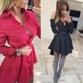 2017 de las mujeres elegantes dress de la manga completa vestidos de camisa roja de la vendimia vestidos de fiesta otoño dress mini vestidos más el tamaño xxl negro