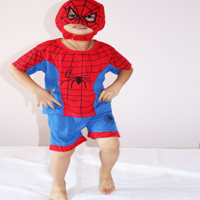 Party Costumes Boy's Model Clothing Role-playing,3 - 7 Years Short Sleeve Kid Dual Purpose Spider-man Cosplay/leisure Wear