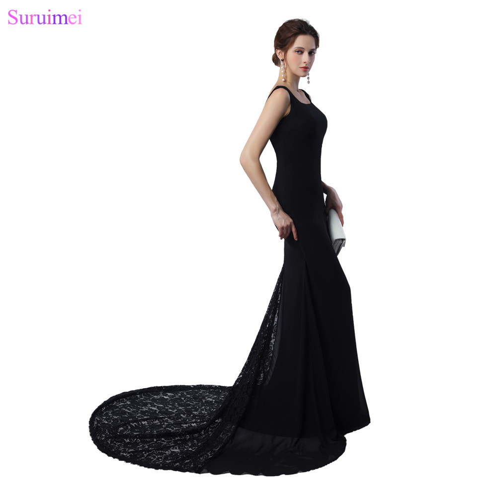 Long Chiffion   Prom   Gown Mermaid Women   Dress   with Short Lace Train With Straps Floor Length Black   Prom     Dresses