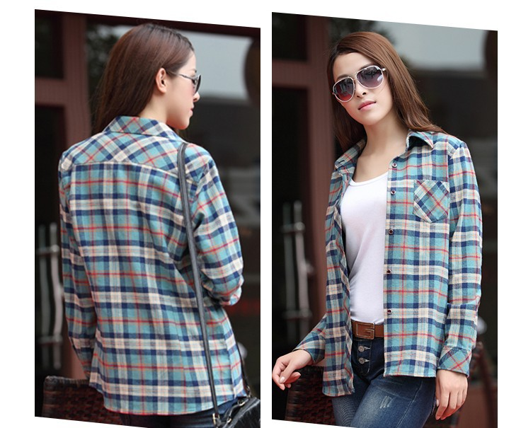Online Shop Women Button Down Casual Blue Cotton Lapel Shirt ...