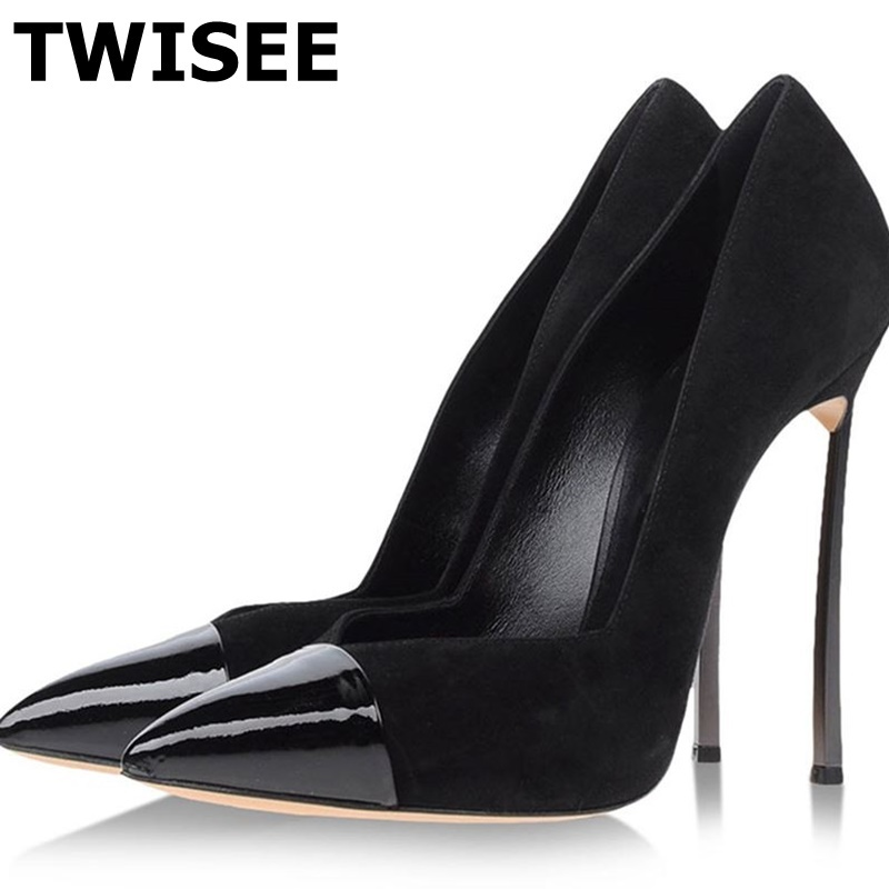 women shoes high heel zapatos mujer Pumps sapatos femininos point toe woman party shoes flock casual shallow black