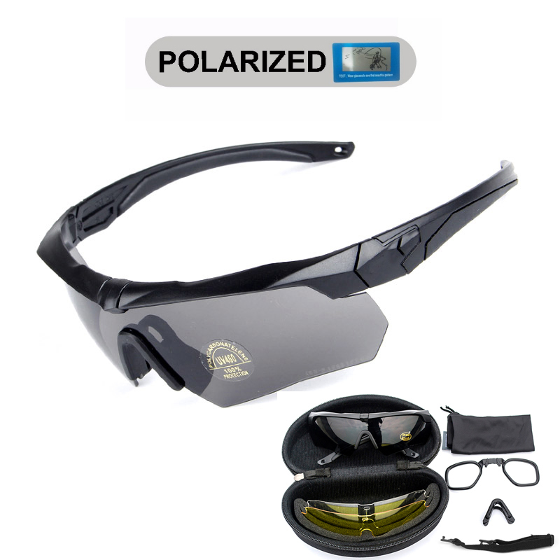 Polarized Tactical Goggles With Myopia Frame 3 Lens Military Army Shooting Glasses Eyewear CS War Game Airsoft Paintball Glass