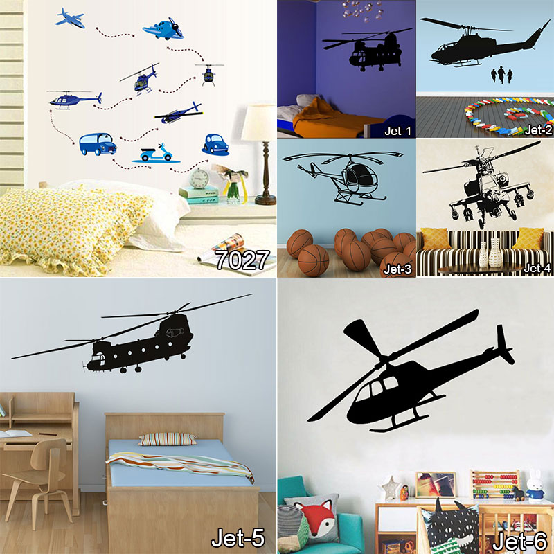 Personalized airplane vinyl wall decals nursery sticker for Airplane wall mural