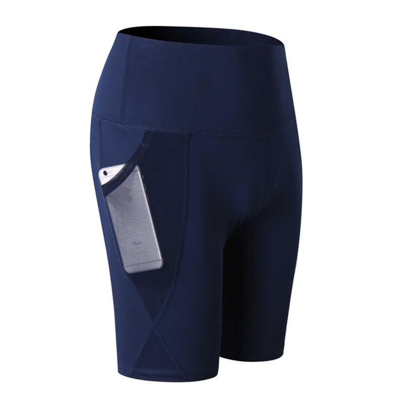 Sportowe spodenki damskie spodenki kompresyjne kobiety Sport kieszeń legginsy wysokiej talii elastyczne spodenki do biegania siłownia krótki Feminino