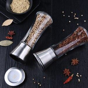 Image 5 - Moinho de sal e pimenta de aço inoxidável premium moedor de sal e pimenta abanadores corpo de vidro especiarias com rotor cerâmico ajustável