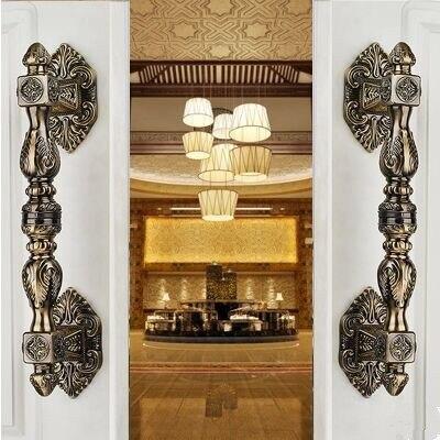 350mm Vintage Europen style door handle antique brass glass wood big gate  handles bronze Hotel KTVHome - Popular Brass Gate Handle-Buy Cheap Brass Gate Handle Lots From