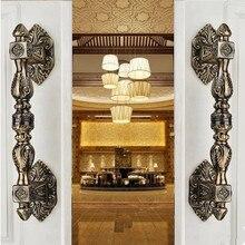 350mm  Vintage Europen style  door handle antique brass glass wood big gate  handles bronze Hotel KTVHome door hardware handle