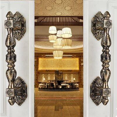 350mm estilo Europen Do Vintage de madeira grande porta alças de bronze maçaneta da porta de vidro de bronze antigo Hotel KTVHome ferragem da porta punho