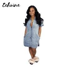 Echoine Vestidos 2019 Sexy Women Summer Loose Casual Denim Short Sleeve Shirt Tops Blouse Dress Button Up Side Split Dress S-XXL button up split side shirt dress