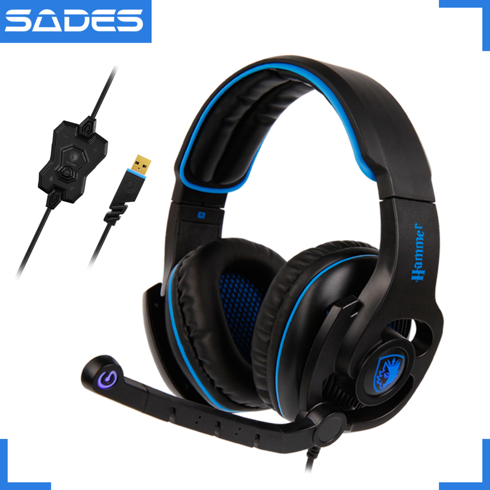 SADES HAMMER Headphones Virtual 7.1 Surround Sound Headset with Rotatable Microphone Multifunctional In-line Controller фрезер hammer flex frz1200b
