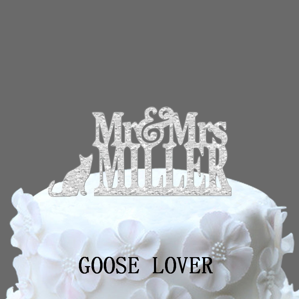 Custom Name Wedding Cake Topper Silhouette Mr And Mrs Pet Cats