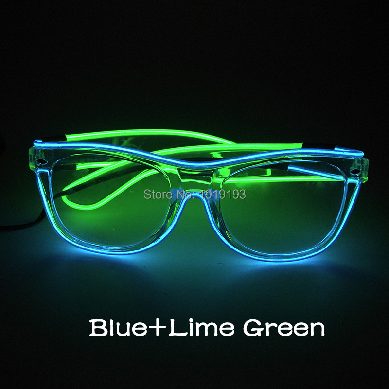 Funky EL Wire Light Up Sparkle Eyeglasses Bright Luminous Led Bulbs Neon Blinking Sunglasses for Wedding Grand Event Supplies new arrival colorful neon led bulbs melbourne shuffle dance costume night lamp el wire bright ghost step suit for concert party