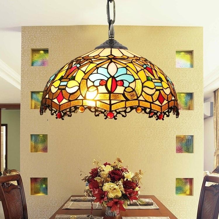 Tiffany Baroque Retro Stained Glass Pendant Light Restaurant Bedroom Living Room Corridor Porch Hanging Light Lamp