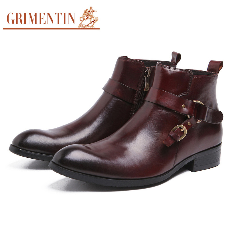 GRIMENTIN Fashion Designer Classic Dress Male Boots Genuine Leather Luxury Men Ankle boots UK Style Luxury Shoes Male Business grimentin fashion 2016 high top braid men casual shoes genuine leather designer luxury brand men shoe flats for leisure business