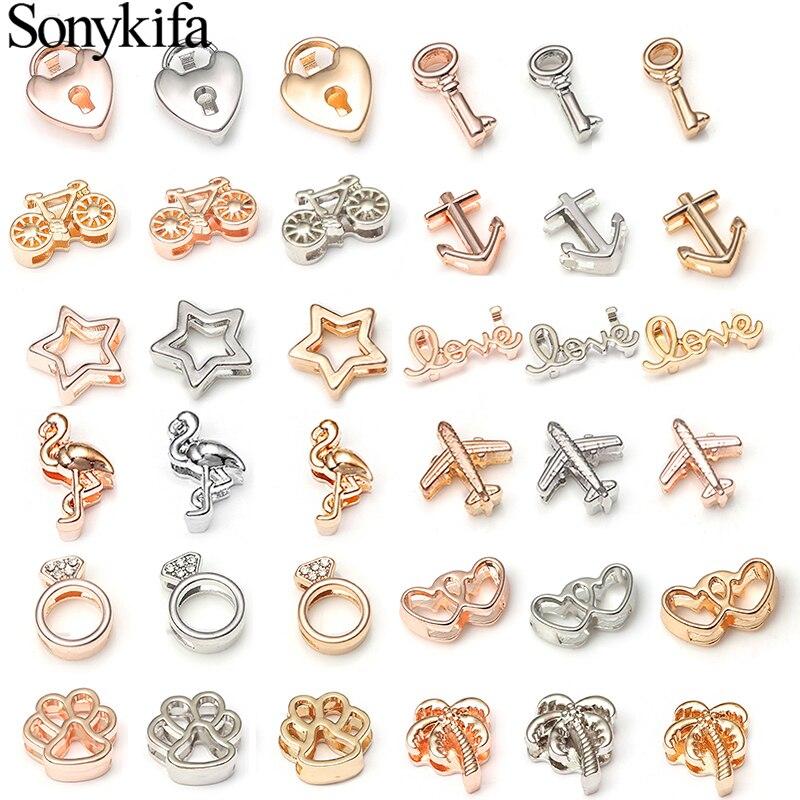 Sonykifa New Fashion Texture Round Crystal Charms Shining Fits 10 mm Bracelets DIY Pandora Mesh Bracelet Jewelry as Women Gifts