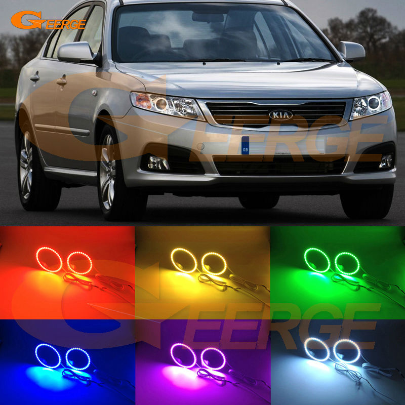 For Kia Optima Magentis 2009 2010 Excellent Angel Eyes Multi-Color Ultra bright RGB LED Angel Eyes kit Halo Rings for hyundai azera 2006 2007 2008 2009 2010 excellent angel eyes multi color ultra bright rgb led angel eyes kit halo rings