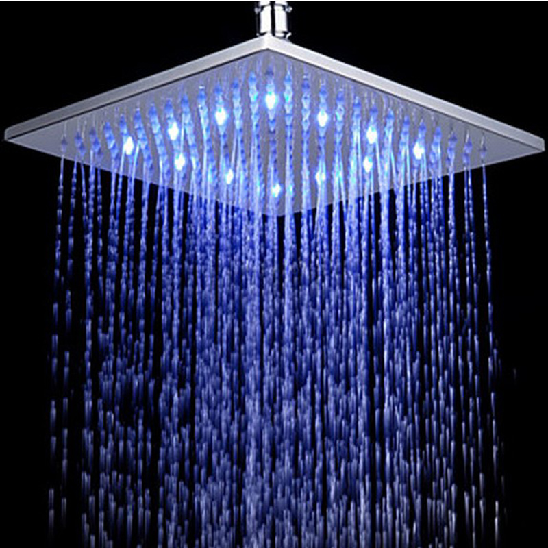In Wall Brass Water Saving 10 Inch Led Rain Shower Head with Shower Arm Chrome Surface Finishing Water Temperature Control
