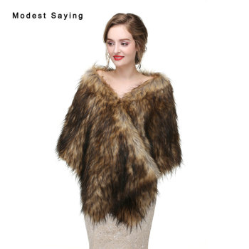 Fashion Brown Faux Fur Wedding Bolero 2017 Imitation Raccoon Fur Bridal Shrugs Wraps Winter Warm Shawls Coat Wedding Accessories