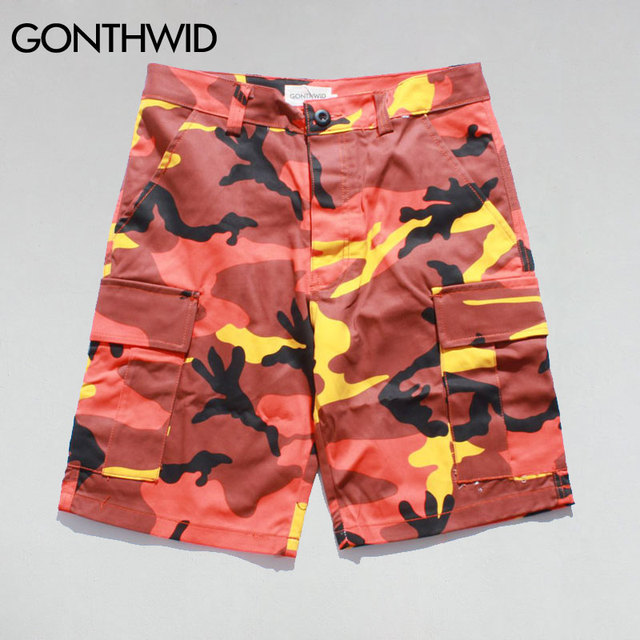 GONTHWID Colore Camo Shorts 2017 Nuovi Mens Tasche Laterali Allentato  Casuale Pantaloncini Mimetici Maschio Moda Hip a59d913ec6d1