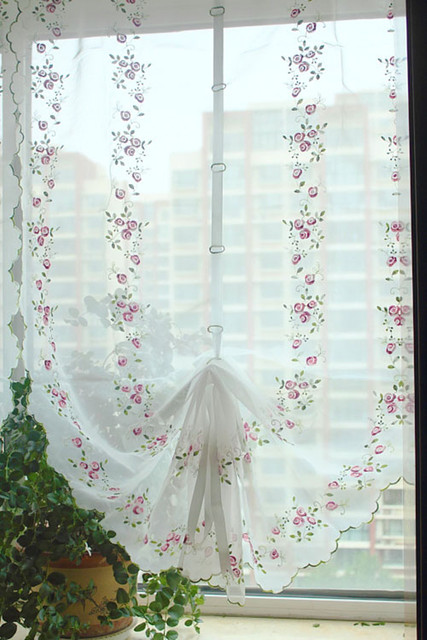 Pastoral Style Flower And Green Leaves Balloon Curtain Translucidus  Embroidery Voile Curtain The Finished Curtain Multi