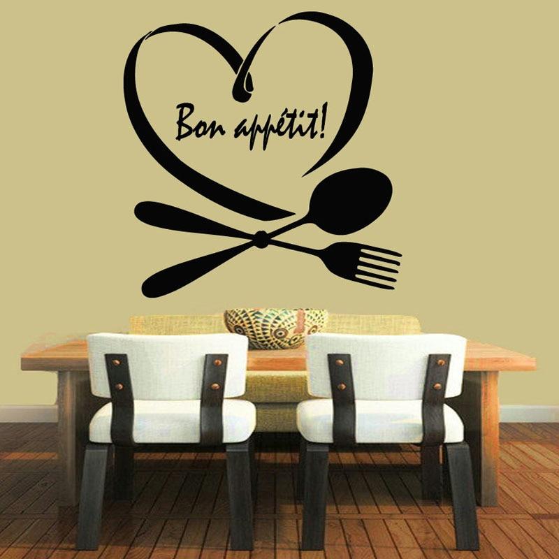 Phrase Words Bon Appetit Wall Decals Spoon Folk Heart