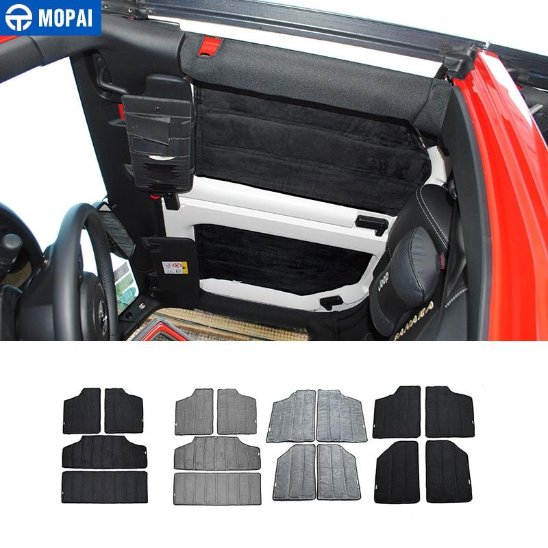 MOPAI Car Interior Accessories Roof Mesh Hardtop Heat Insulation Cotton Kit for Jeep Wrangler JK 2012-2017 Car Styling