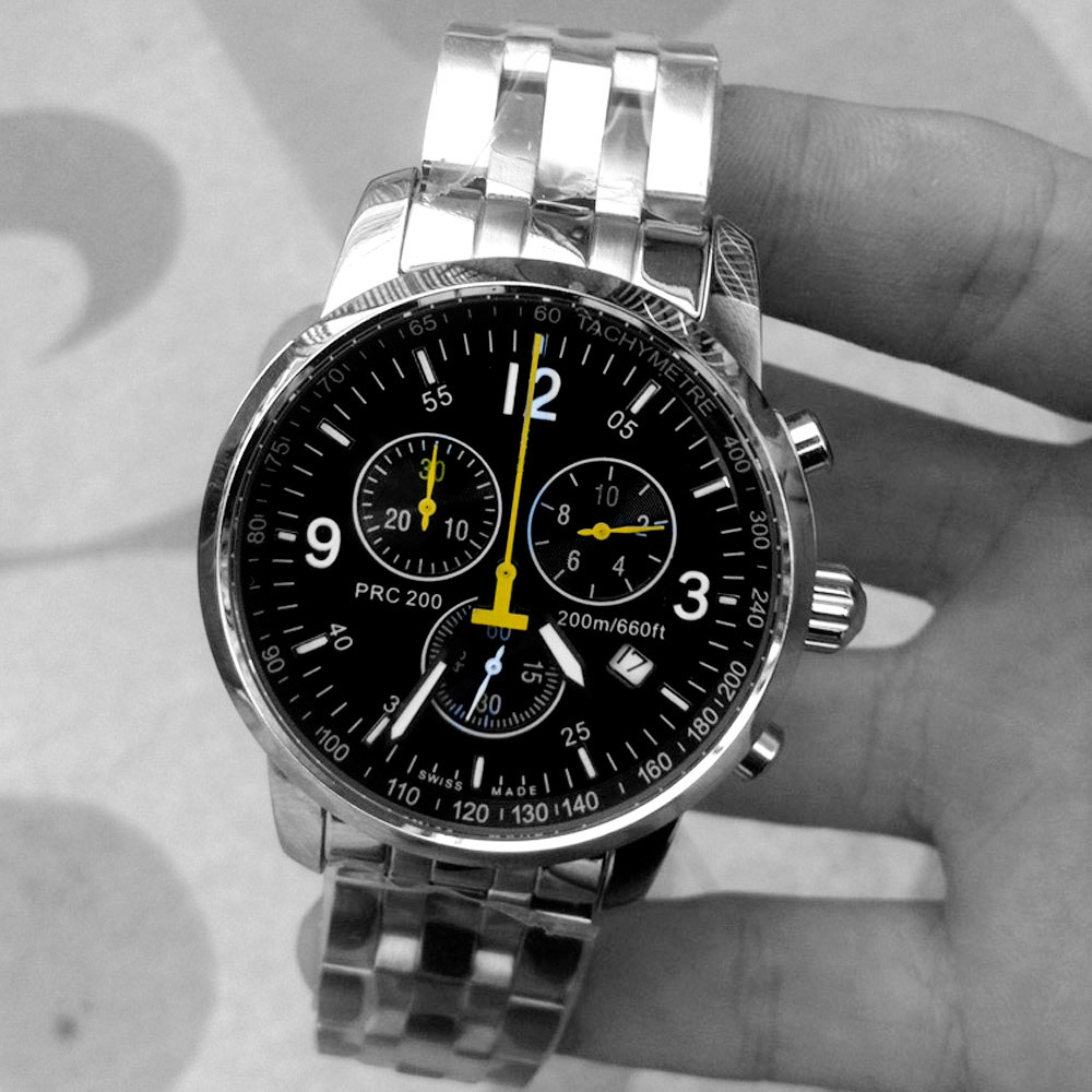 4341fd680 classic design AAA watch top famous brand men dress watch PRC 200 full  stainless steel Chronograph watches