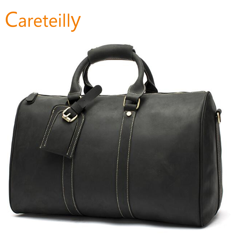 Vintage Leather Weekender Duffel Bag Travel Luggage Bag