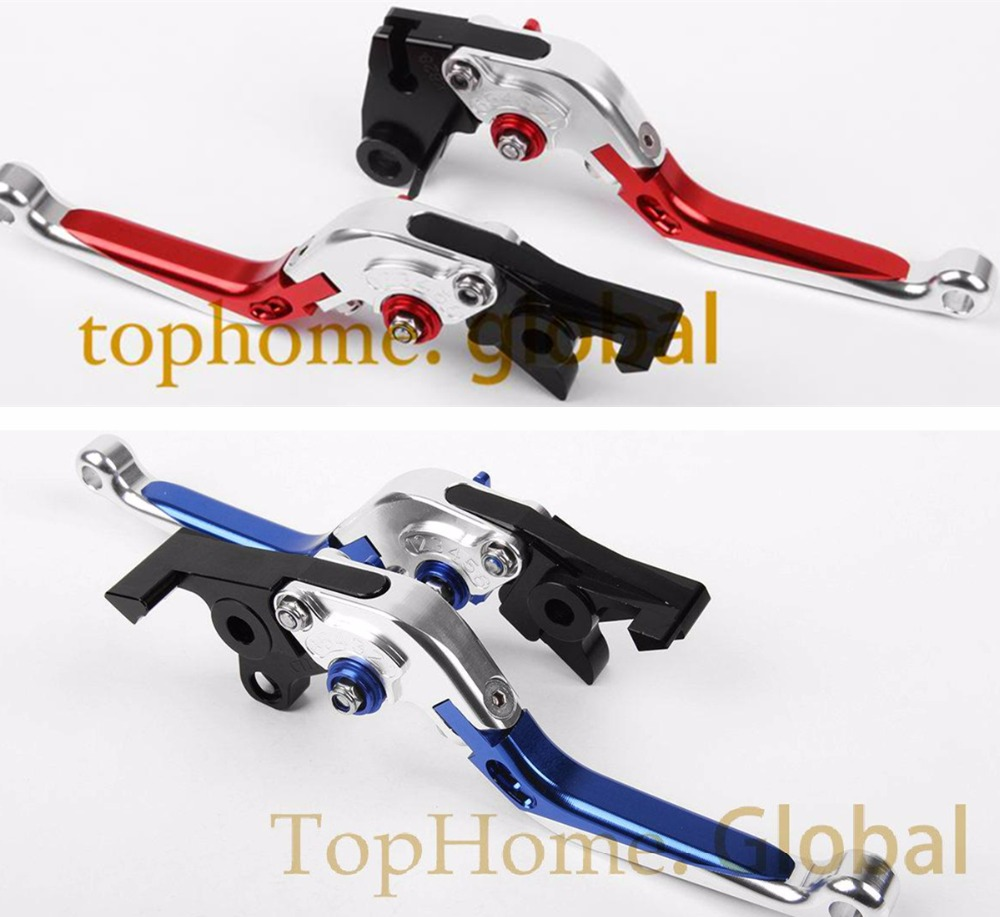 Foldable Extendable Brake Clutch Levers For Kawasaki Z250 Z300 2013 2014 CNC Silver with Blue/Red Folding Extending Adjustable foldable extendable brake clutch levers for kawasaki z250 z300 2013 2014 cnc 8 colors folding extending adjustable