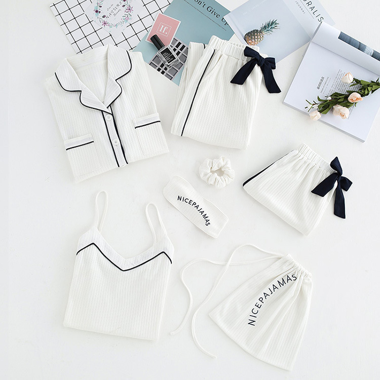 7 Pcs Sleep Pajamas Sleepwear For Girl Women Pyjama Set Suit Pajama 532