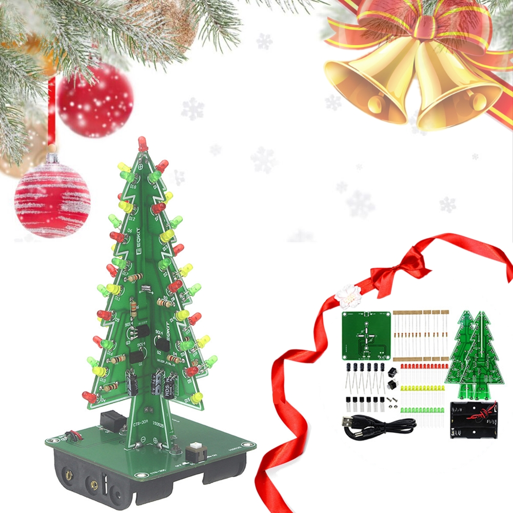 Three-Dimensional 3D Christmas Tree LED DIY Kit Red/Green/Yellow RGB LED Flash Circuit Kit Electronic Fun Suite