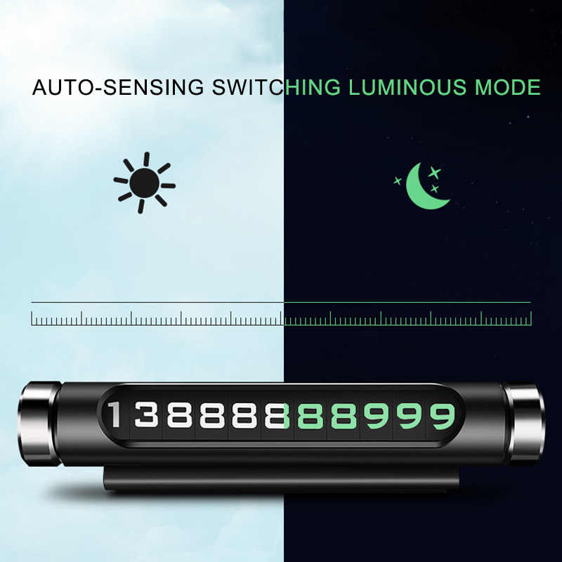 HGDO  Luminous Parking Number Plate Phone Number Car Parking Number Plate Hidden Universal Car Accessories Card Auto Interior