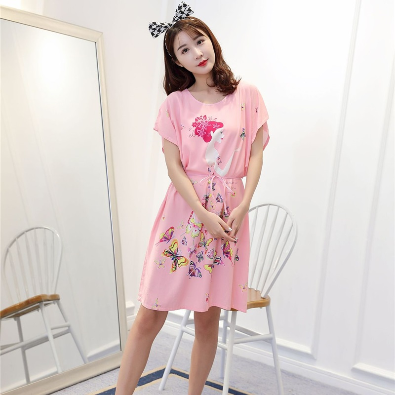 Ladies Women Oversize Woven Cotton M-4XL Nightdress Pink Princess Sexy Lingerie   Nightgown   Sleepwear   Sleepshirts