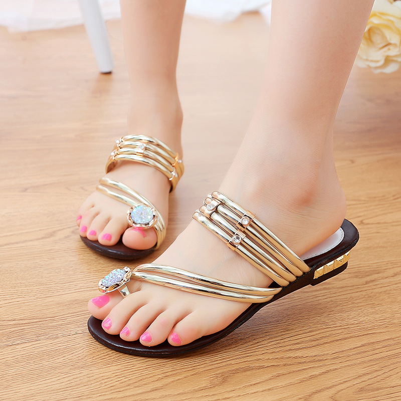 e6a013634 2015 Fashion Bohemia Flip Flops Women Sandals Slipper Gold Rhinestone Flat  Sandals Summer Sandali Donna XWT210-in Women s Sandals from Shoes on ...
