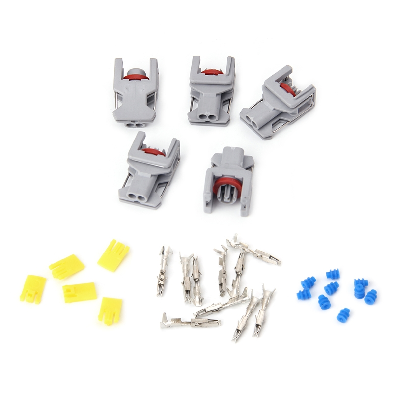 5 Sets 2 Pin Waterproof Connector For Delphi 10811963 Fuel Diesel Injector Fuel Rail Plug T15 6pcs 3979419 fuel injector connector tubes for 5 9l dodge cummins 2003 2007 4929864 f00rj01572 68005335aa