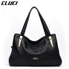 CLUCI Bags Handbags Women Genuine Leather Hobos Fashion Black Zipper Elegant Totes Ladies Handbags Top-handle Bags for Gifts