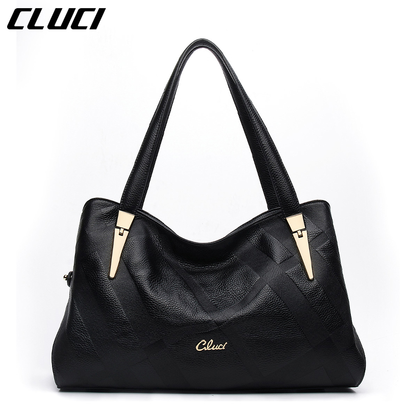 CLUCI Women's Handbags Genuine Leather Fashion Black Ladies' Genuine Leather Handbag Soft Casual Leather Totes Bags for Lady велосипед bulls sharptail 24 street outer 21 spd 2017