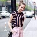 Nuevos Diseños de Moda de Verano Blusas de Las Mujeres Camisa Blusas de La Gasa Ocasional Más El Tamaño Sin Mangas de Las Mujeres de la Vendimia