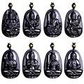 In 2017, one of the most popular natural quality obsidian amulet manual sculpture Buddha necklace in men and women free shipping