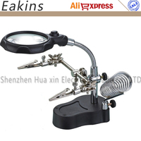 Desktop Magnifier Clamp Type Hand Soldering Iron Stand Welding Assistant Tool LED Glass Magnifier 3 5X