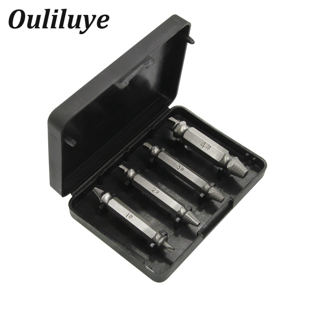 4Pcs Screw Extractor Drill Bits Guide Set Broken Damaged Bolt Remover Double Head Broken Stud Stripped Screw Removal Tool Case screw extractor